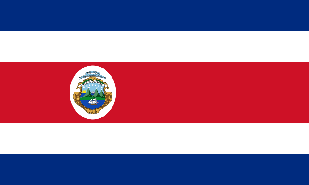 Costa Rica Flag with National Arms