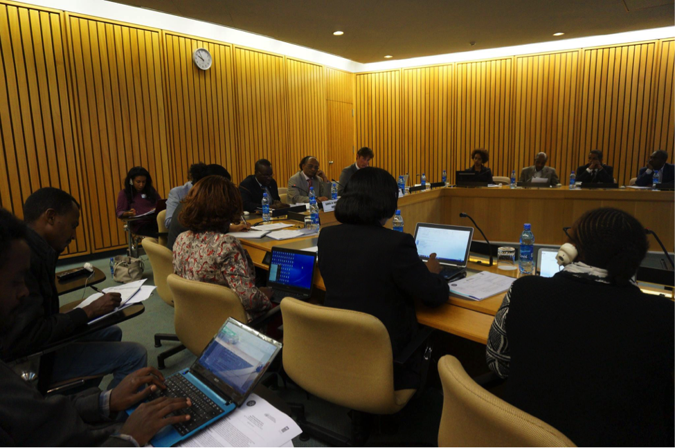 The Hon. Minister of Environment and Forestry of Ethiopia, H.E. Mr. Belete Tafere, interacting with international delegates at the Africa regional in Addis - 7 May 2015 - source: UNDP/CVF - license: CC