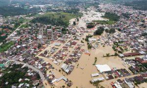 Flooded Cobán, Alta Verapaz, Guatemala after Hurricane Eta