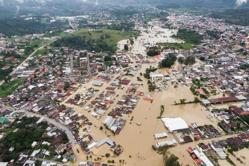Flooded Cobán, Alta Verapaz, Guatemala after Hurricane Eta