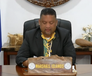 H.E. Mr. Casten Nemra, Hon. Minister of Foreign Affairs and Trade of the Republic of the Marshall Islands, at the CVF Pacific Regional Dialogue.